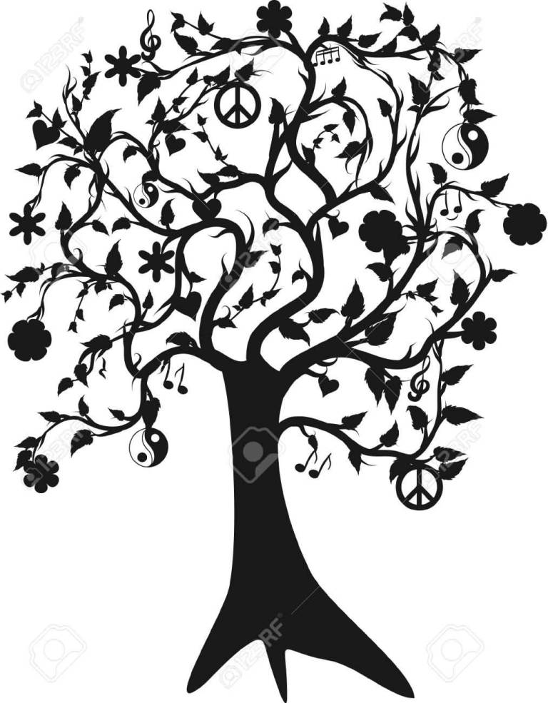 Black simple Tree Tattoo