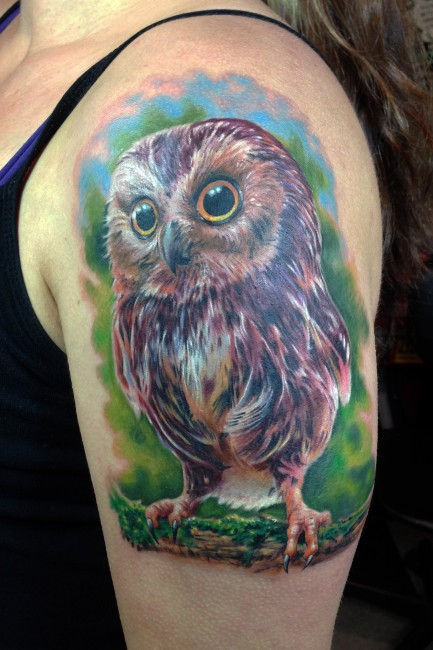 Colored Awesome Owl Tattoo