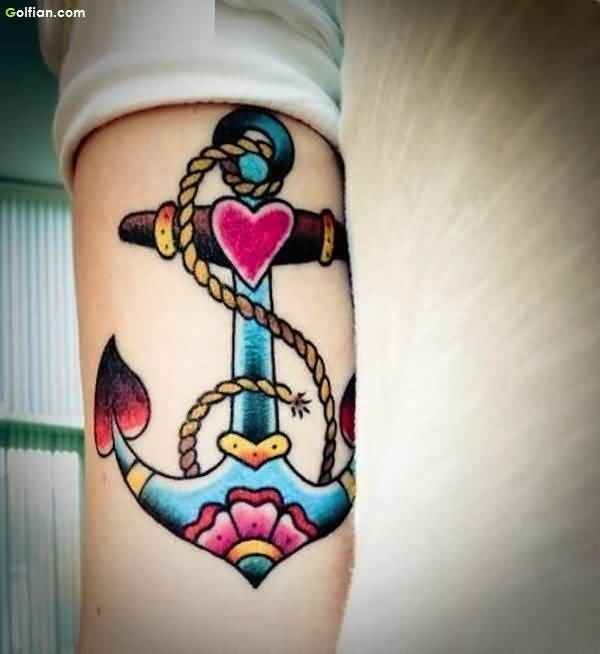 Colorful Rope Anchor Tattoo