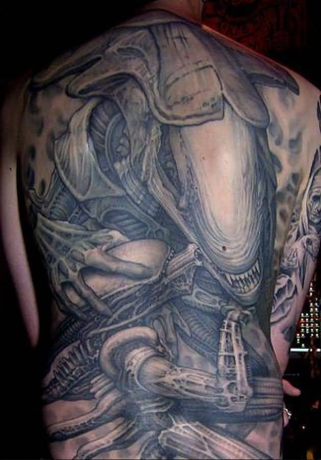 Full Back Alien Tattoos