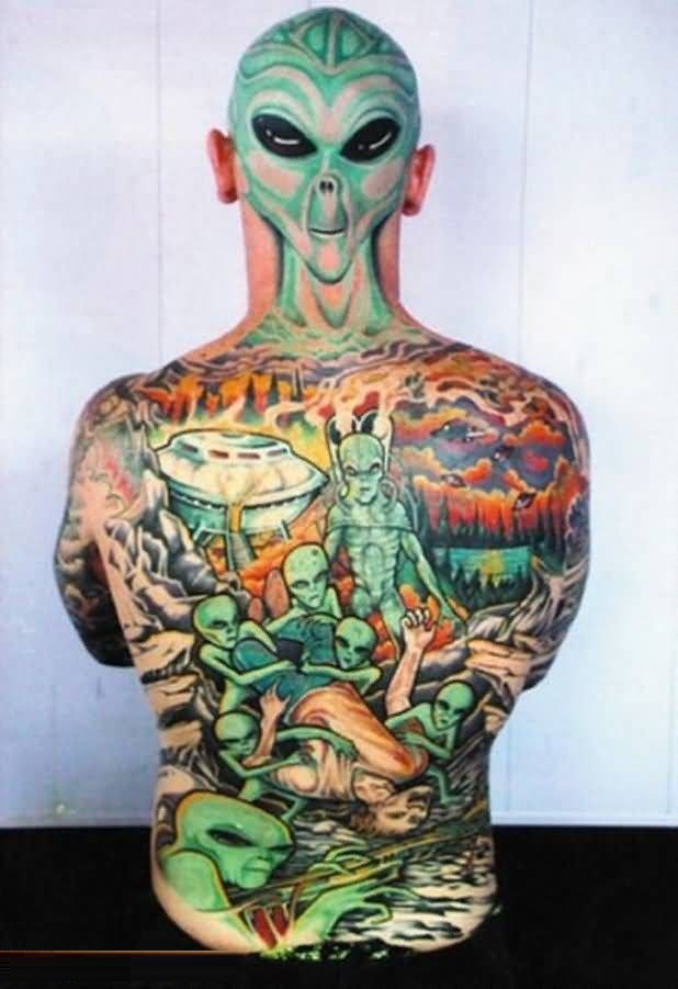 Full Body 3d Alien Tattoo