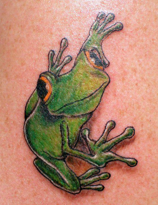 Green Ink Fabulous Frog Tattoo