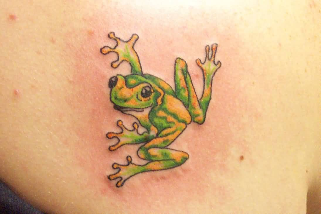 Green Ink Nice Frog Tattoo