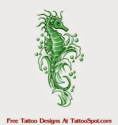 Green Ink Nice Sea Creature Tattoo