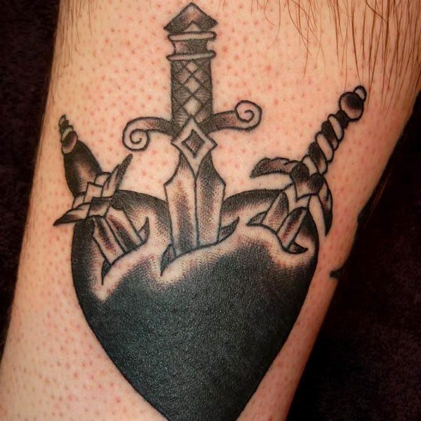 Nice Heart Dagger Tattoo