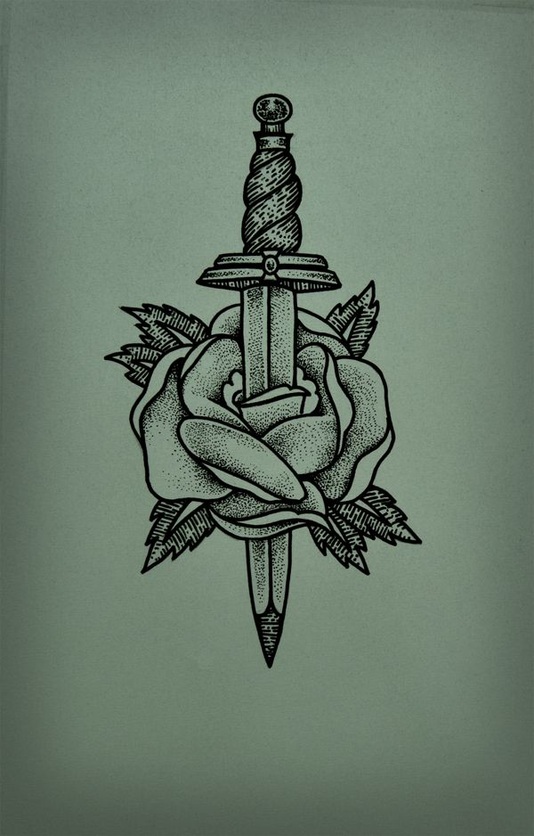 Nice Rose Dagger Tattoo (2)