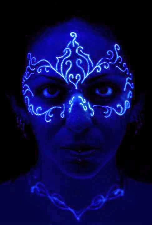 Nice UV Light Mask Tattoo