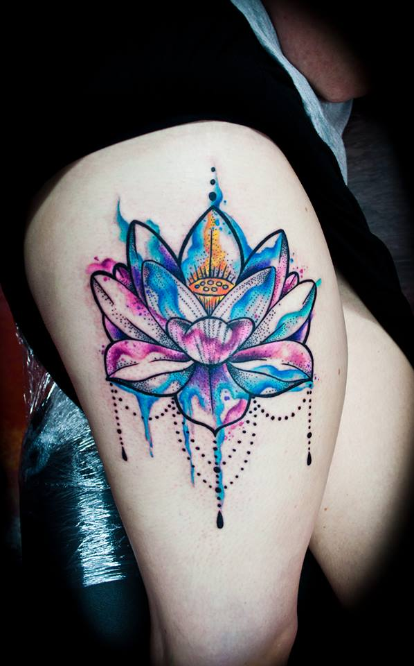 Nice Watercolor Lotus Tattoos