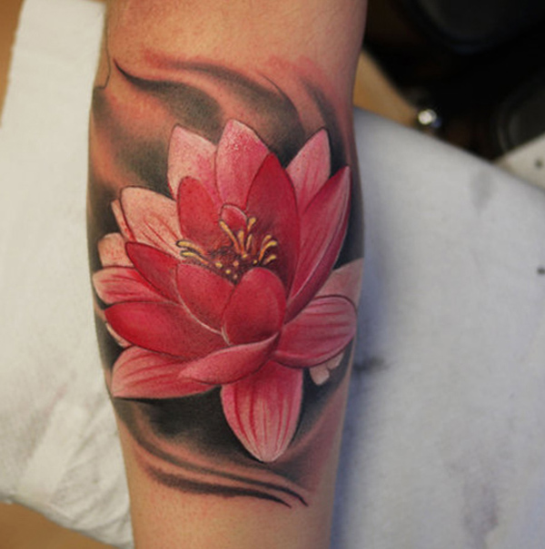 Pink Color Lotus Tattoo