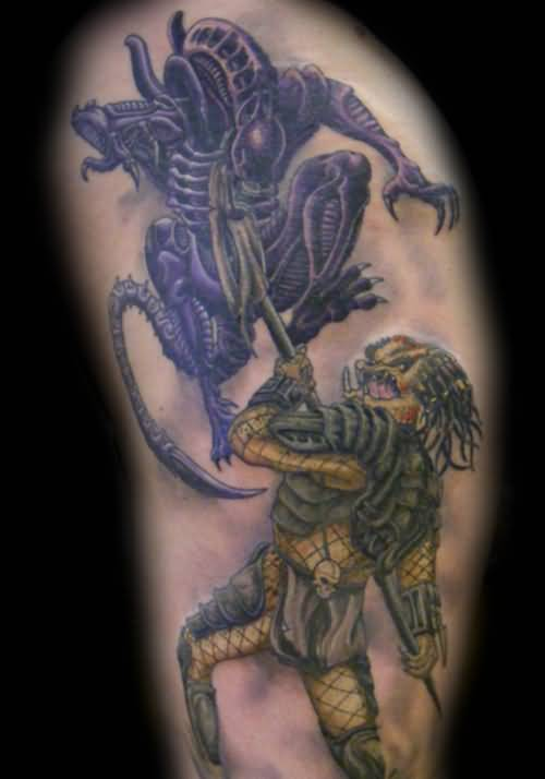 Predator Fight Alien Tattoos