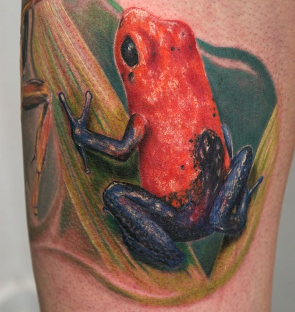 Realistic Orange Blue Frog Tattoo