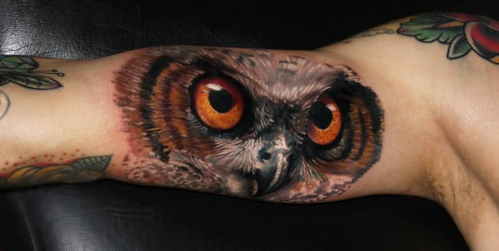 Realistic Owl Face Tattoo