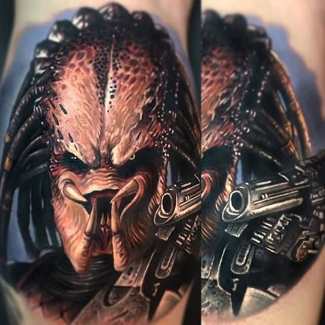 Realistic Portrait Alien Tattoo