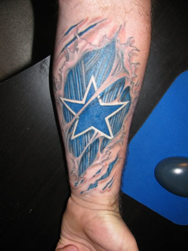 Ripped Skin Blue Stars Tattoo