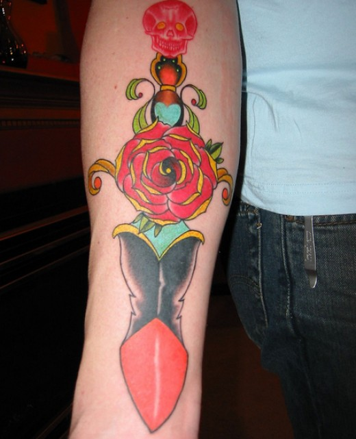 Simple Dagger Rose Tattoo