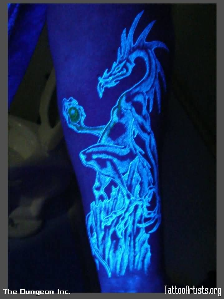 Simple Dragon UV Tattoo