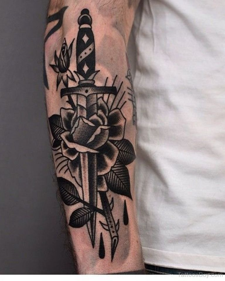 Simple Flower Dagger Tattoos (2)