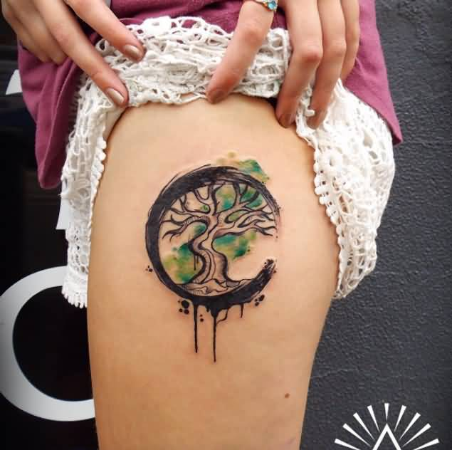 Simple Half Moon Tree Tattoo