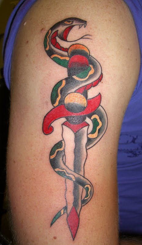 Simple Snake Dagger Tattoo