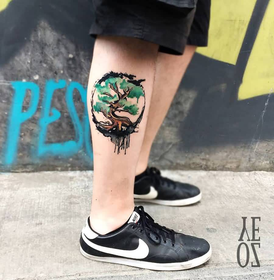 Simple Tree Leg Tattoo