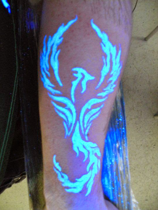 Simple UV Phoenix Tattoo