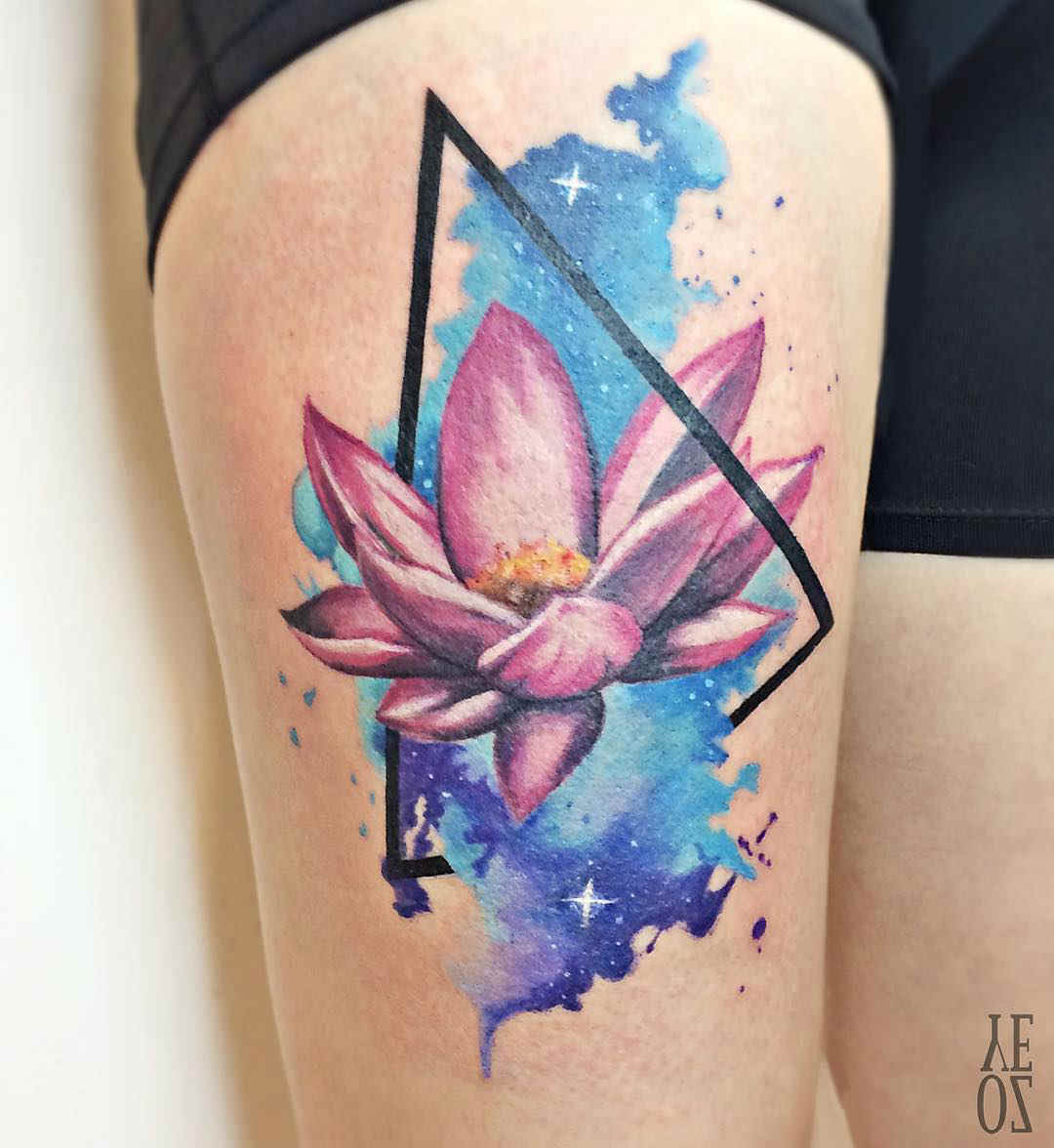 Triangle Lotus Tattoo On Thigh