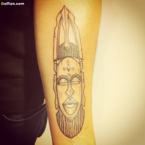 Vertical Mask African Tattoo