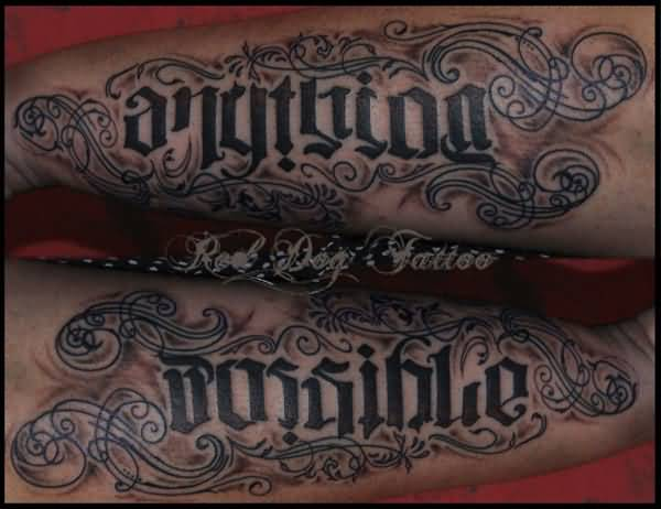 Vintage Ambigram Tattoo