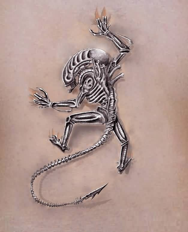 White Ink Alien Tattoo
